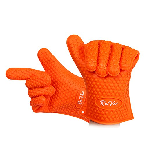 RUIVAN Heat Resistant Silicone Gloves,Set of 2 Heat Resistant Extra Thick Silicone Oven Gloves, Waterproof Non-Slip Food Grade, for BBQ and Cooking Grilling Baking (Orange)