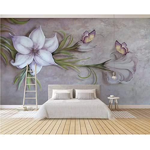 Finloveg Papier Peint Personnalisé 3D Relief Floral Papillon Tv Fond Mur 3D Décoration De La Maison Salon Chambre 3D Papier Peint-280X200Cm