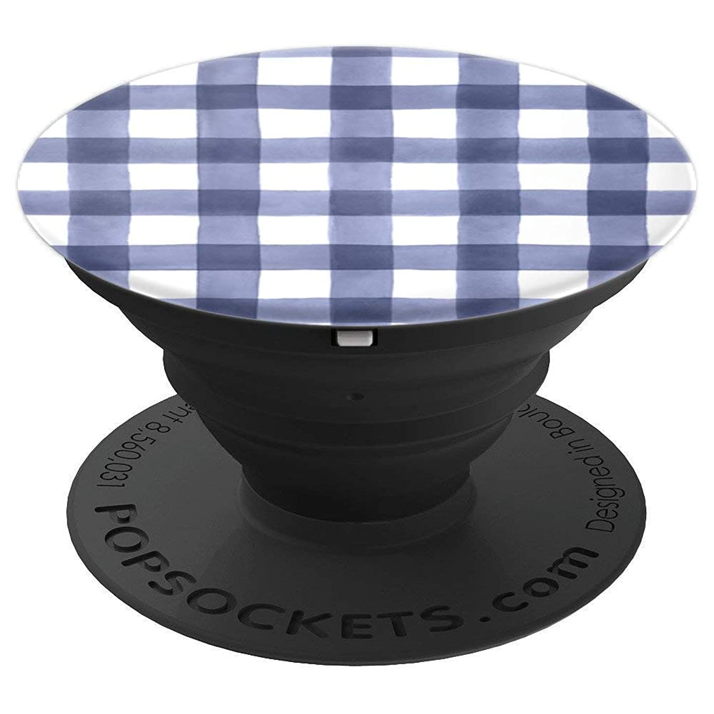 Dark Blue and White Buffalo Plaid Gingham Check  - PopSockets Grip and Stand for Phones and Tablets