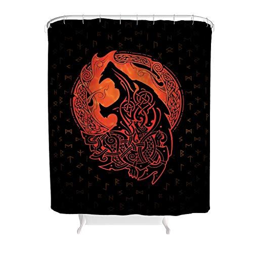 WJunglezhuang Douchegordijn van Viking Wolf, antibacterieel, waterafstotende stof, badkamerdecoratie