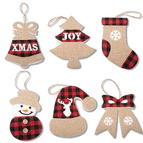 Merry Christmas Ornaments Banner Decoration 6 Pieces Red Black Buffalo Check Stocking Bell Hat Snowman Bow and Christmas Tree Great Firepalce Hanging Decoration for Christmas Gift。