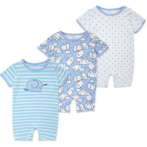 Bebé Manga Corta Mameluco 3 Paquetes, Mono de Verano Niños Niñas Pijama Algodón Infantil Mono 9-12 Meses