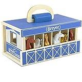 "Breyer Horses Breyer Farms Wooden Stable Playset with 6 Horses   6 Piece Playset   6 Stablemates Horses Included   6"" H x 9"" L x 2.5"" D   1:32 Scale   Model #59217, Multi"