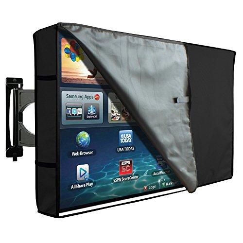 KHOMO GEAR Hülle Bezug für Fernsehen Wetterfestes Cover für TV Schutz für den Maßen 50 51 52 Zoll für LCD, LED, OLED und Plasmageräte Kompatibel mit Standardständern - Schwarz Black 50-52
