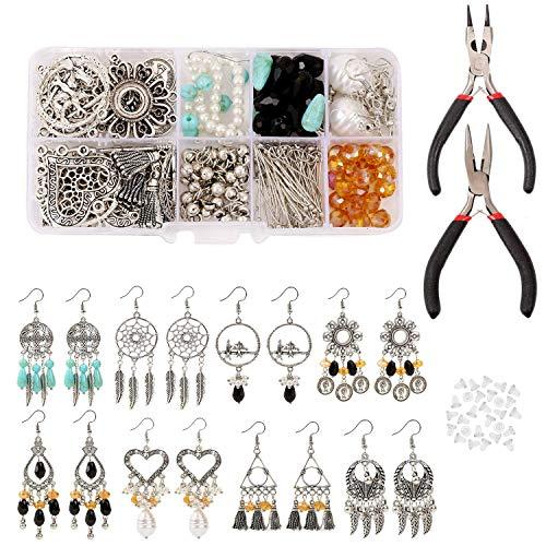 Queta 406pcs Jewelry Making Kit para Hacer Bisutería,Juego de Accesorios de Fabricación de Joyería Kit de DIY para Bisutería Collar Pendientes Pulseras de Artesanía de Bricolaje Herramientas de joyas