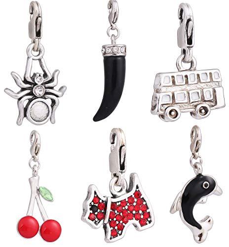 AKKi Glitzer Charm hänger mit karabina Verschluss Angebot Swarovski Kristalle Kugel weiß Anhänger Bunt Silber zubehör für Bettelarmbänder Armband Kette Ohrring