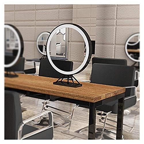 SXTYRL Magnifique Miroir LED Salon Coiffure Miroir Double Face dédié, Salon beauté avec Lampe Miroir Maquillage Bureau Double Face, Net Red Ti Barber Shop Miroir Table Miroir Coiffeuse
