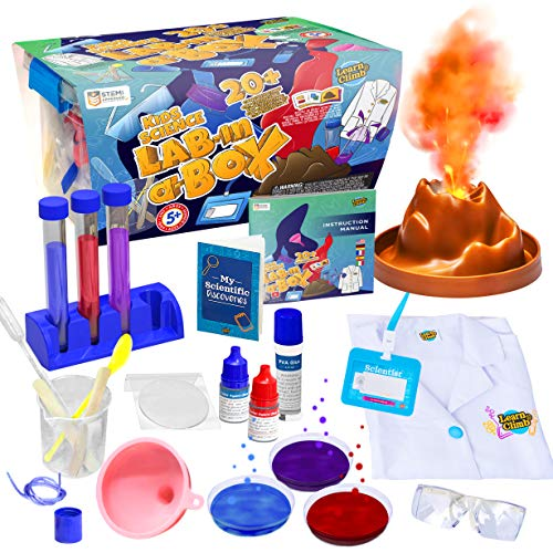 Learn & Climb Kids Science Kit with Lab Coat - Over 20 Science Experiments. Ages 4+