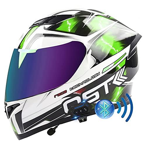 BDTOT Bluetooth Integralhelm Motorrad Helm DOT/ECE Zertifizierter Motorradhelm Antibeschlag-Doppelvisier mit Mikrofon für Automatisches Beantworten Unisex Adult für Stadt Pendeln
