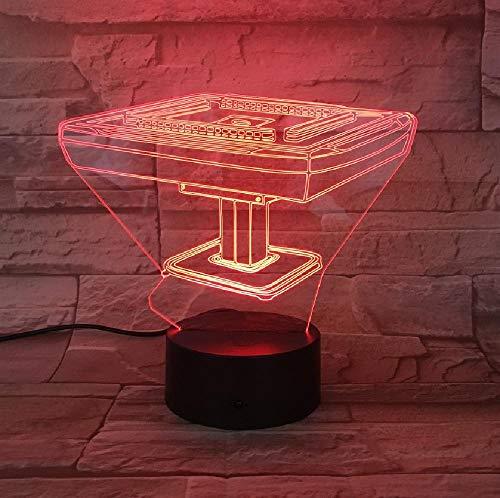 3D-lamp voor Chinese cultuur, mahong-tafel, werkt op batterijen, kleurverandering, decoratie voor 's nachts, led, romantische cadeaus voor kinderen en vrienden.