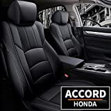 LAONNVIR Leather Car Seat Covers Fit for Honda Accord EX EX-L Sedan Touring 2018-2022 Auto Full Set Seat Cushion Protector, Seat Cover Compatible with Airbag,Rear Row W/Solid Folding Backrest(Black)