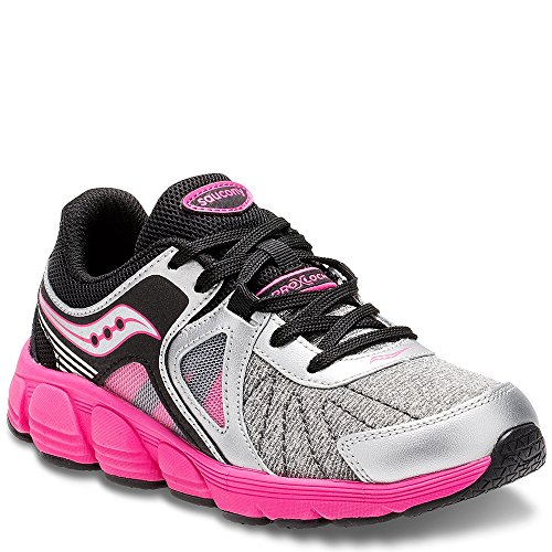 SAUCONY Saucony Kotaro 3 Sneaker (Little Kid), Silver/Black/Pink, 11 M US Little Kid