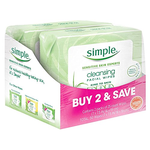 Simple Kind to Skin Facial Wipes, Cleansing 25 ct, Twin Pack