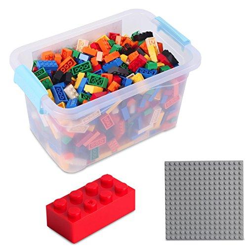 Bausteine - 520 Stück, Kompatibel zu Allen Anderen Herstellern - Inklusive Box und Grundplatte, Mehrfarbig Bunt