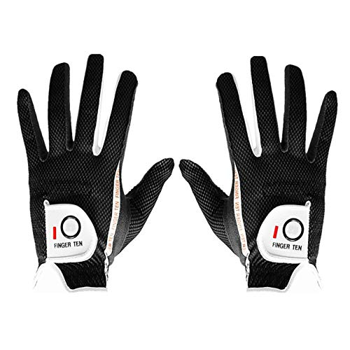 FINGER TEN Men's Golf Glove Rain Grip Pair Both Hand or 2 Pack Left...