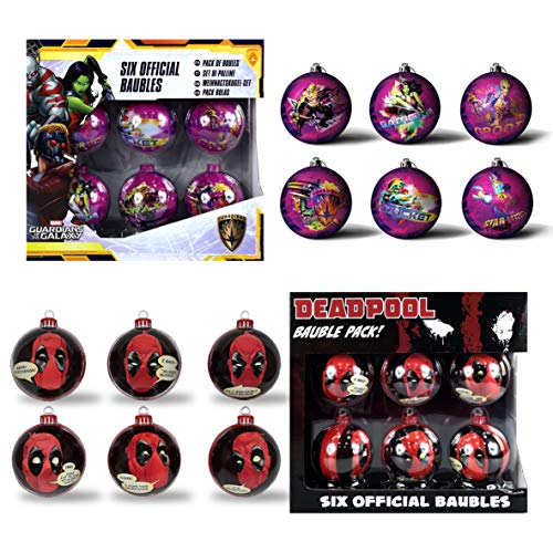 Deadpool & Guardians of The Galaxy Set of 2 6PC Christmas Tree Tin Baubles Decoration Pack - 7.5cm x 7.5cm - Featuring 6 Different Designs Per Pack.