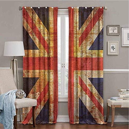 Anzonto Slider Door Curtains England Britain British Flag Patriot English Queen Grunge Made By Digital Printer Modern Navy Orange Red White 96x108 Inch
