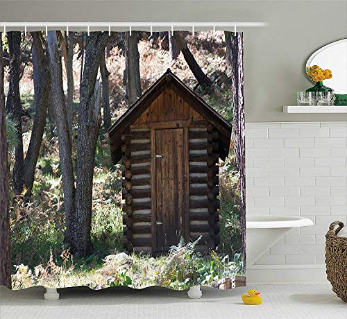 SPXUBZ Outhouse Wooden Primitive Life Barn Shed in Spring Forest Leaves Lumberjack Photo Dark Brown and Green Shower Curtain Waterproof Bathroom Decor Polyester Fabric Curtain Sets with Hooks