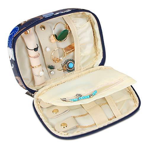 Teamoy Joyero Caja Pequeño para Joyas, Estuche de Joyería Bolsa de Viaje Organizador para Collares, Pulseras, Pendientes, Anillos, Cadenas, (Pequeño, Gatos Azules)