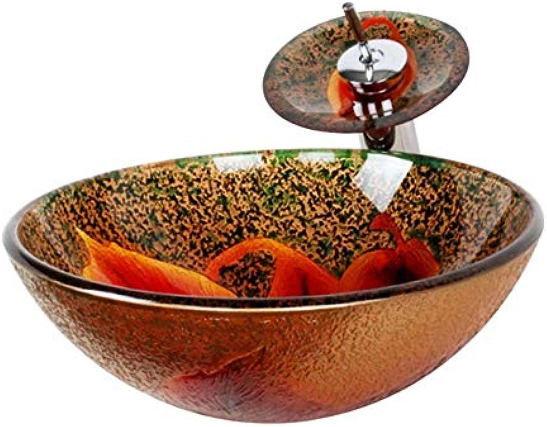 Lxylllzs Badezimmer Garderobe Glas Waschbecken Waschbecken Waschbecken Orange rot, ich