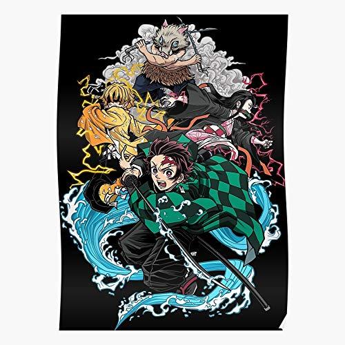 Kimetsu Bloodart No Breathing Demon Tanjiro Nezuko Water Zenitsu Yaiba Slayer Inosuke Regalo para la decoración del hogar Wall Art Print Poster 11.7 x 16.5 inch