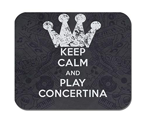 Makoroni - Keep Calm and Play Concertina - Non-Slip Rubber - Computer, Gaming, Office Mousepad