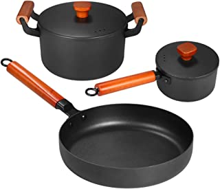 Goolsky 3pcs/set Iron Pan Set of 3 Casting Iron Pan Nonstick Iron Pot Soup Pot Milk Pot Frying Pan