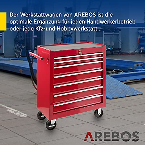 Arebos Werkstattwagen 7 Fächer/zentral abschließbar/Anti-Rutschbeschichtung/Räder mit Festellbremse/Massives Metall/rot, blau oder schwarz (Rot) - 2