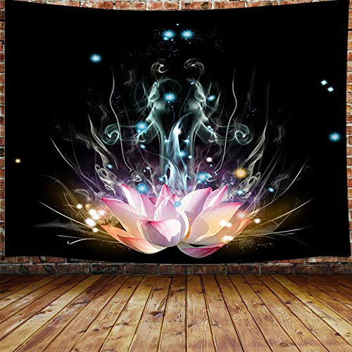 Trippy Lotus Flower Tapestry, Pink Floral on Black Meditation Tapestry Wall Hanging for Bedroom, Fantasy Hippie Yoga Tapestry Beach Blanket College Dorm Home Decor (71' W X 60' H)