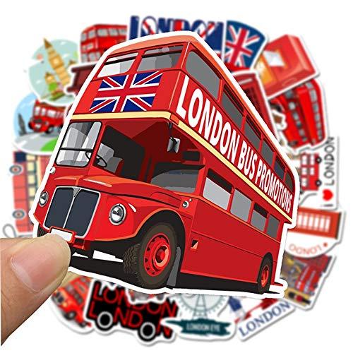 Etiqueta engomada de la cabina del teléfono del autobús rojo pegatinas de Pvc Graffiti calcomanía para el caso de la maleta del equipaje de la guitarra del ordenador portátil de los niñoss 50 Uds