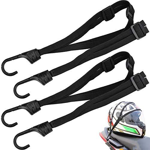 2 Piezas Cuerda Casco de Moto, Correa Equipaje Elástica Ajustable con Gancho para Moto y Bicicleta Correa Elástico de Pulpo - Negro, 60 cm