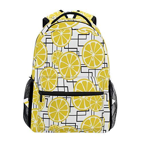 Wamika Juicy Lemons Crossing Lines Sac à Dos étanche pour l'école, Sac à Dos de Gym, Sac à Dos pour Ordinateur Portable Jaune/Noir/Blanc