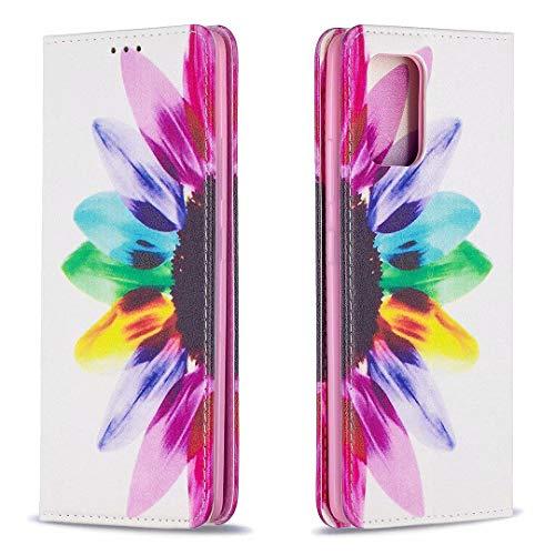 Miagon Brieftasche Hülle für Samsung Galaxy S10 Lite,Kreativ Gemalt Handytasche Case PU Leder Geldbörse mit Kartenfach Wallet Cover Klapphülle,Sonnenblume
