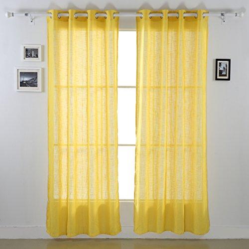 Deconovo Grommet Top Curtains Linen Sheers Window Sheers Linen Curtains for Bedroom 52 x 95 Inch Yellow 1 Pair