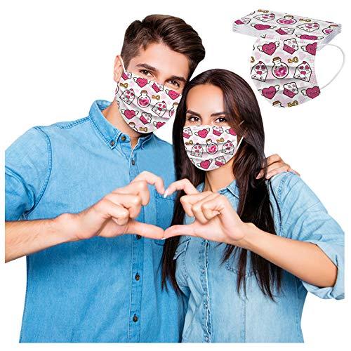 10 Stück 3-lagig Erwachsenenmäske mit Valentinstag Motiv Mund und Nasenschutz,Einweg-Gesichtsabdeckung Staubdich Outdoor Mundschutz Halstuch für Herren und Damen (A)