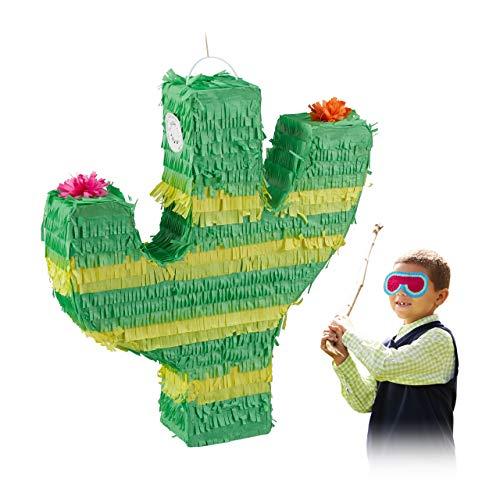 Relaxdays Pignatta a Forma di Cactus, da Appendere, Bambine,...