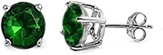 Stud Post Earring Round Simulated Green Emerald 925 Sterling Silver
