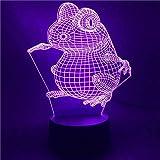Lampada da illusione 3D a LED, base di luce notturna giapponese, Anime Naruto Toad 7, multicolore, con telecomando, ottima decorazione