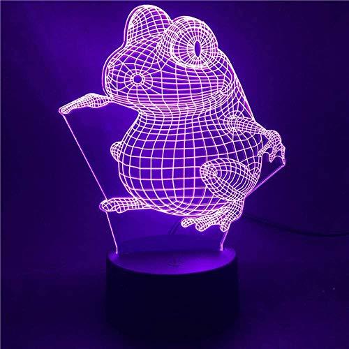 Lámpara de ilusión 3D LED con base de luz nocturna japonesa Anime Naruto Toad 7 multicolor con mando a distancia