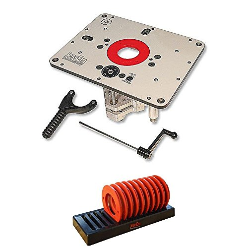 JessEm 02310 Rout-R-Lift II Router Lift + 02030 10-Piece Insert Ring Kit with Caddy Bundle
