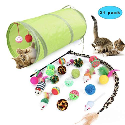 Sunshine smile Juguetes para Paquete de Variedad para Gatitos,Set di Juguetes para Gatos Interactivo Ratón,Juguetes para Gatos con Bolas Varita,Juguetes para Gatos con Plumas túnel (21 Piezas)