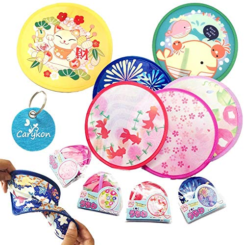 Carykon Abanico de mano redondo estilo japonés plegable para boda fiesta y decoración personal,...