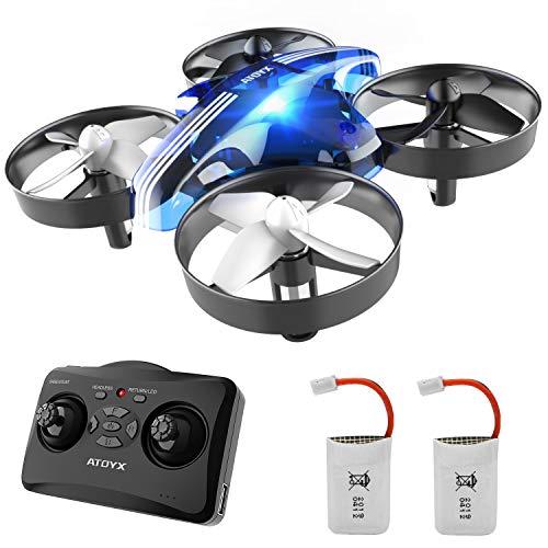 ATOYX Jouets d'intérieur Drone Enfant Hélicoptère Télécommandé Quadcopter avec Mode sans Tête Avion Mini avec Télécommande Jouet Cadeau pour Enfant et Débutant - Bleu AT-66