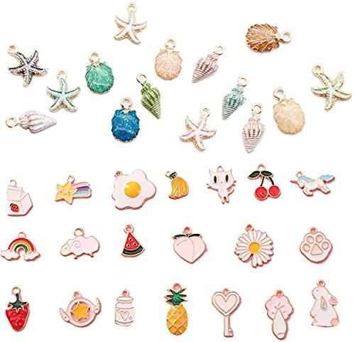 Kytpyi colgantes dijes, 35 piezas encantos colgantes mixtos colgante esmalte charm colgante para bricolaje joyería pulseras llaveros pulseras collares pendientes ( colores mezclados )
