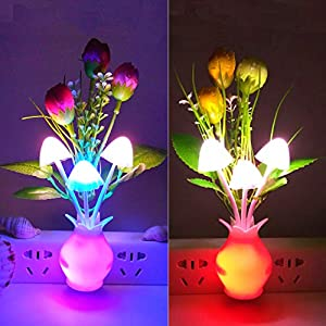 [2 Pack] Warmstor Mushroom Night Light, Tulip Flowers Plug-In Mushrooms Colors Changing Nightlight Nursery Bed Lamps Colorful Wall Lamp LED Little Night Lights for Baby Kids Children Adults