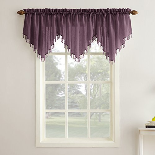 "No. 918 Erica Crushed Texture Sheer Voile Beaded Ascot Rod Pocket Curtain Valance, 51"" x 24"