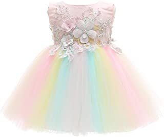 Meiqiduo Baby Girls Dress Colorful Rainbow Infant Christening Birthday Wedding Bridesmaid Party Lace Tulle Flower Dresses