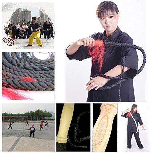DSJMUY Whip Premium Black Long Whip Bullenpeitsche aus echtem Leder Voll handgefertigt und langlebig, 1-6 m luxuriöse geflochtene Pferdepeitsche - Perfekt für die Arbeit mit Vieh oder Sportpeitschen