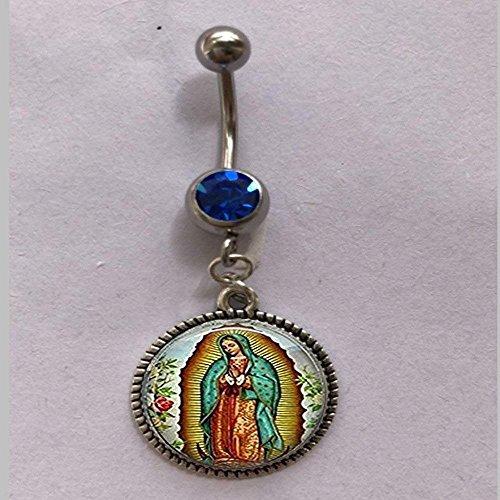 Anillo para ombligo de Nuestra Señora de Guadalupe, anillo para ombligo de Mary Virgen, anillo para ombligo de arte católico religioso