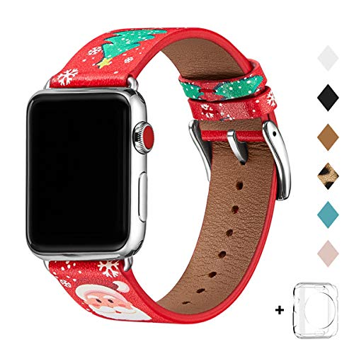 Bestig Band Compatible for Apple Watch 38mm 40mm 42mm 44mm, Genuine Leather Replacement Strap for iWatch Series 6 SE 5 4 3 2 1, Sports & Edition (RedChristmas Band+Silver Connector,38mm 40mm)